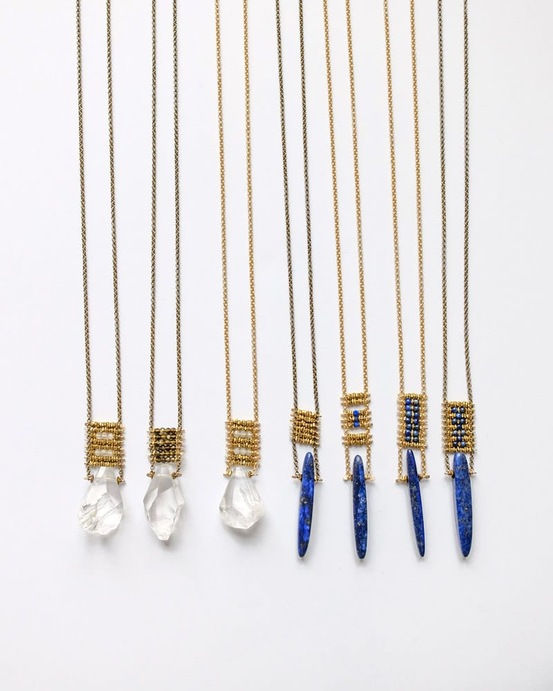 7 Demimonde handcrafted brass beaded necklaces with focal pieces