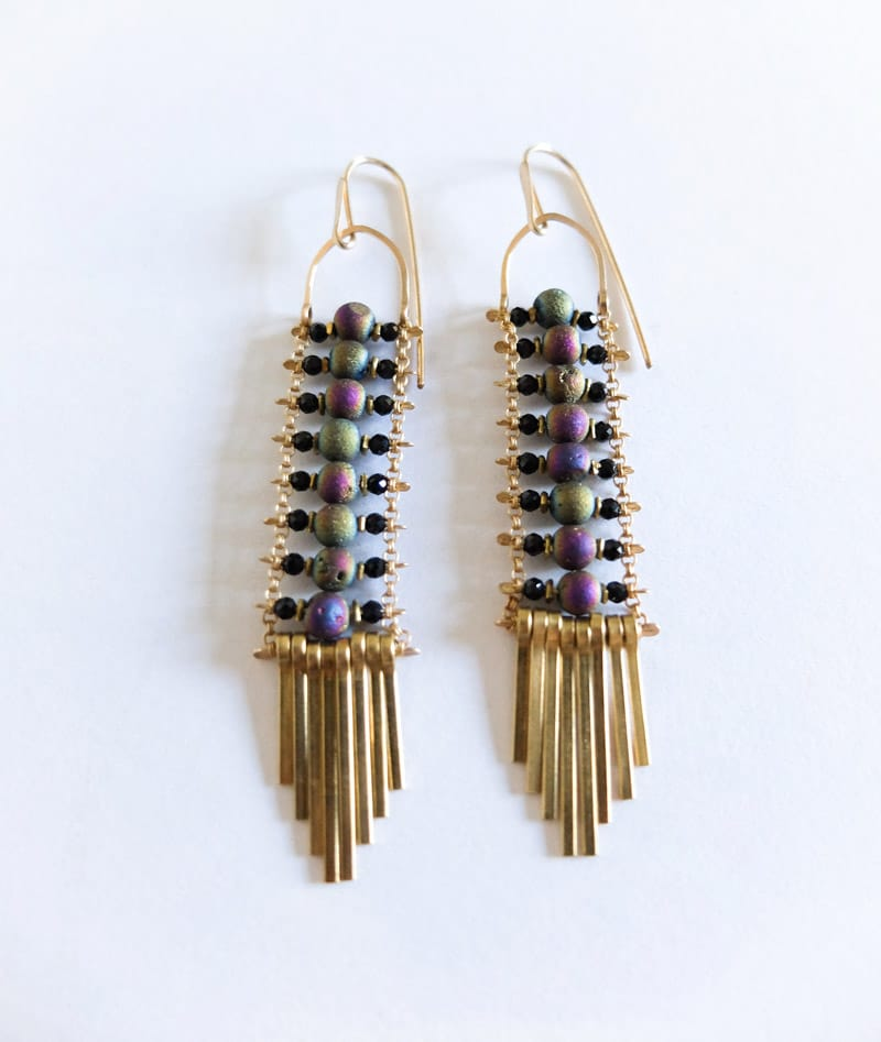 Demimonde Earrings Druzy and Spinel Beads