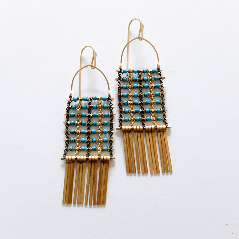 turquoise with brass fringe demimonde earrings