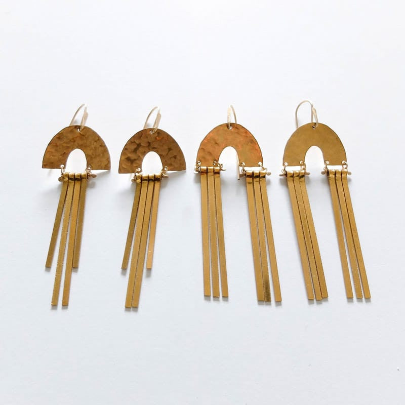 hammered brass with fringe demimonde earrings