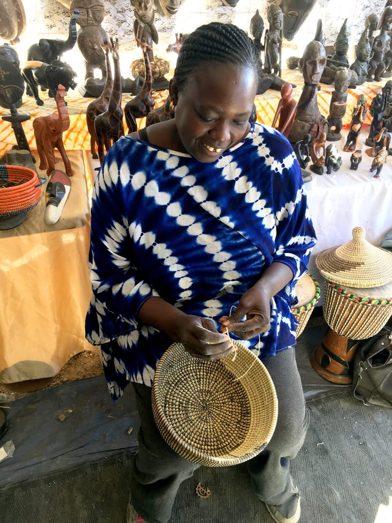Dioum Baskets Bazaar Vendor - handcrafted recycled plastic baskets, rugs, fans, bangles