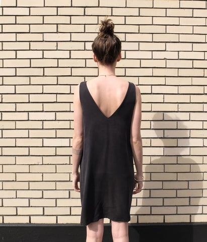 Eve Gravel Sauvage Dress in Black back view