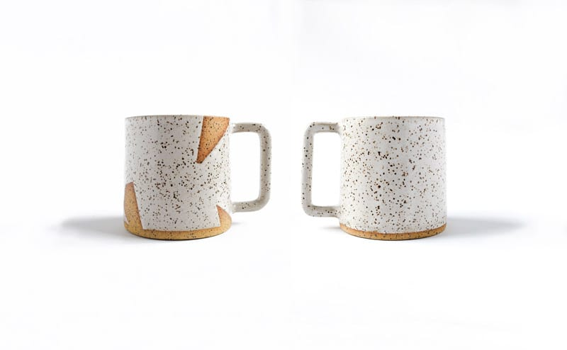 Margaret & Beau White Speckled Mugs in Solid and Geo