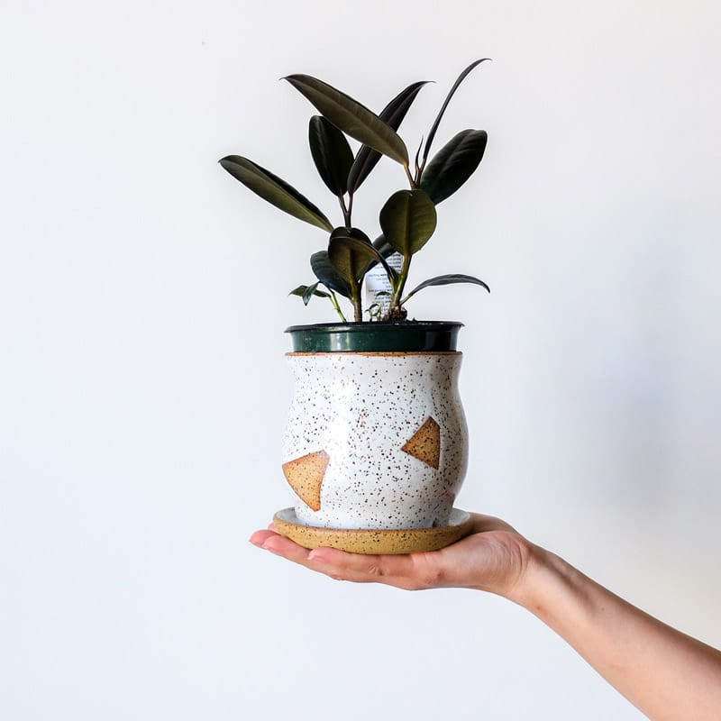 Margaret & Beau Medium Planter White Speckled Geo