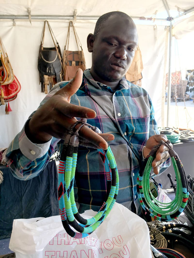 Muso Masiri Bazaar Vendor - Baba Berthe, jewelry company in Mali making recycled jewelry