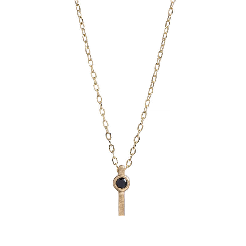 Navitas Necklace, a 14k gold necklace with black or white diamonds by betsy & iya