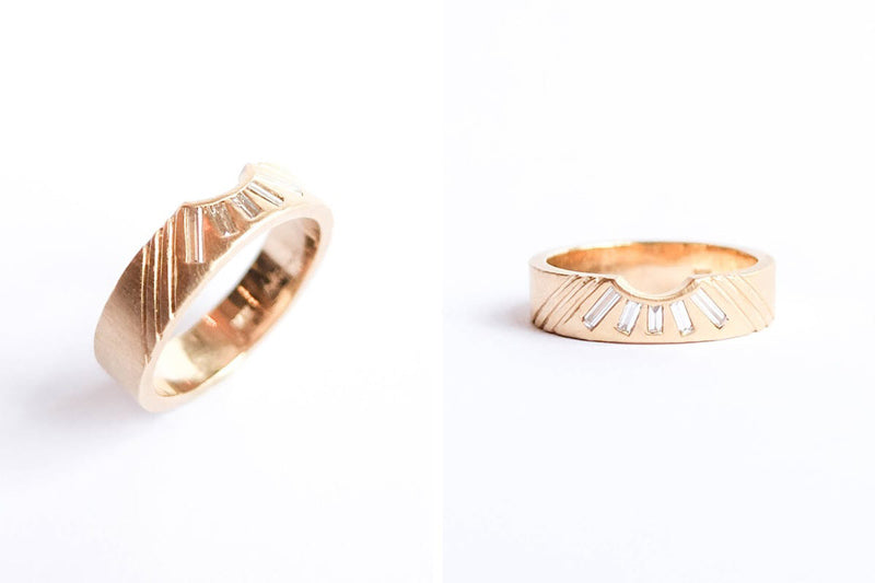 betsy & iya custom designed ring - 14k gold with diamonds and engraving