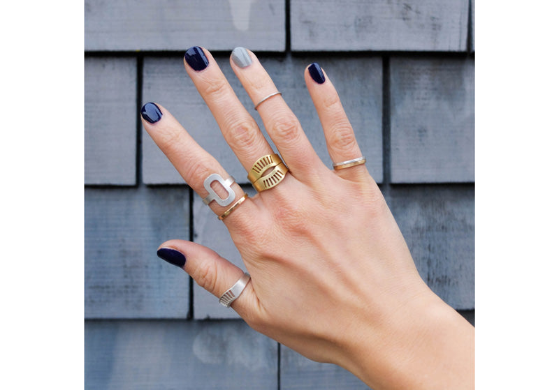 betsy & iya jewelry simple ring stacks with mixed metals
