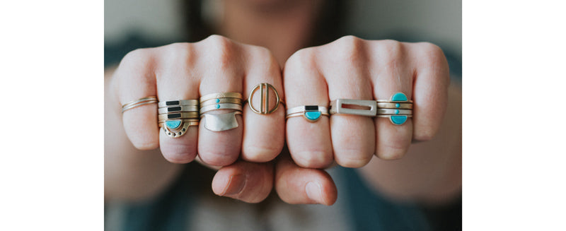 betsy & iya rings stacked on fists