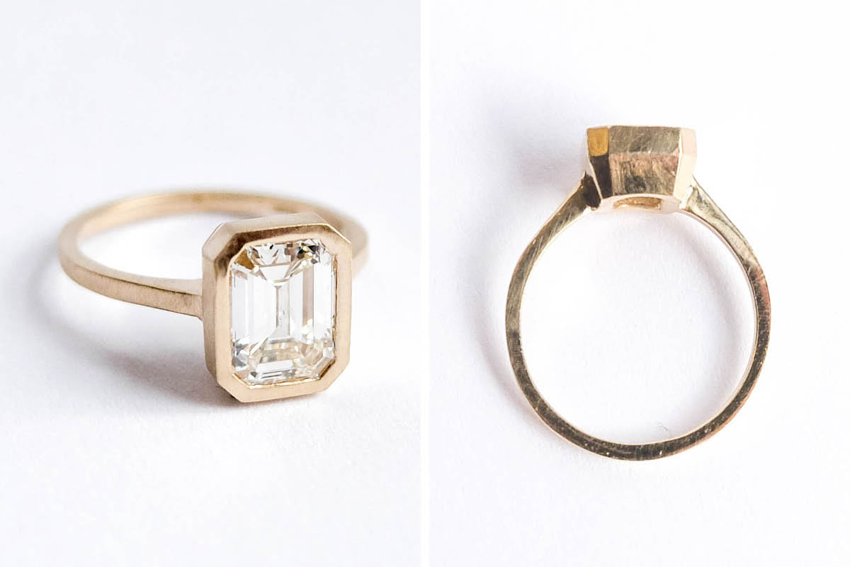 betsy & iya custom designed 14k gold faceted ring with diamond