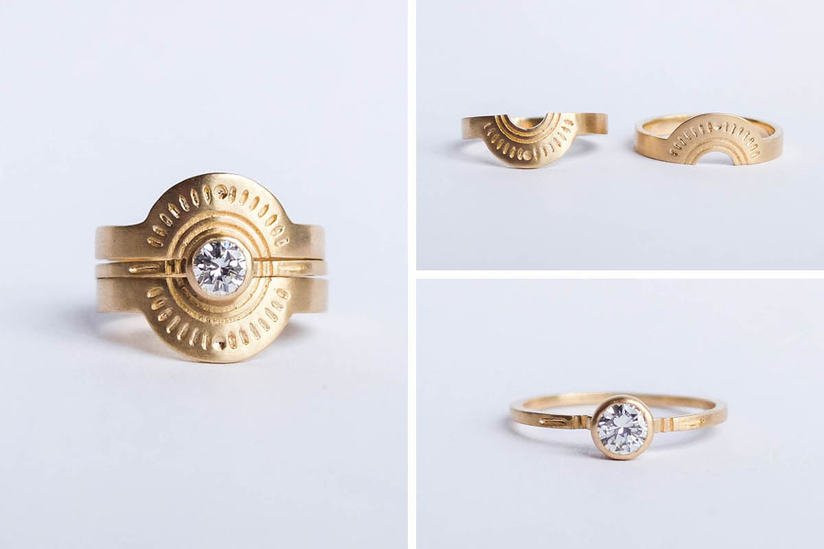 betsy & iya custom designed 14k gold ring trio with diamond and engraving