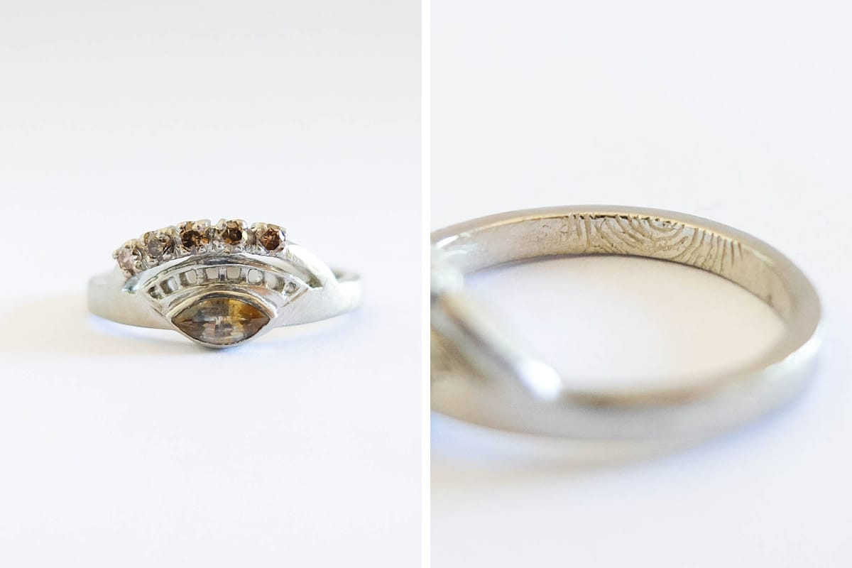 betsy & iya custom jewelry design 14k white gold champagne and raw diamonds fingerprint engraving