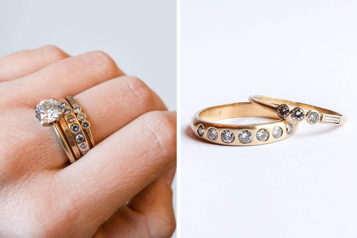 betsy & iya custom jewelry - gold rings with repurposed heirloom diamonds