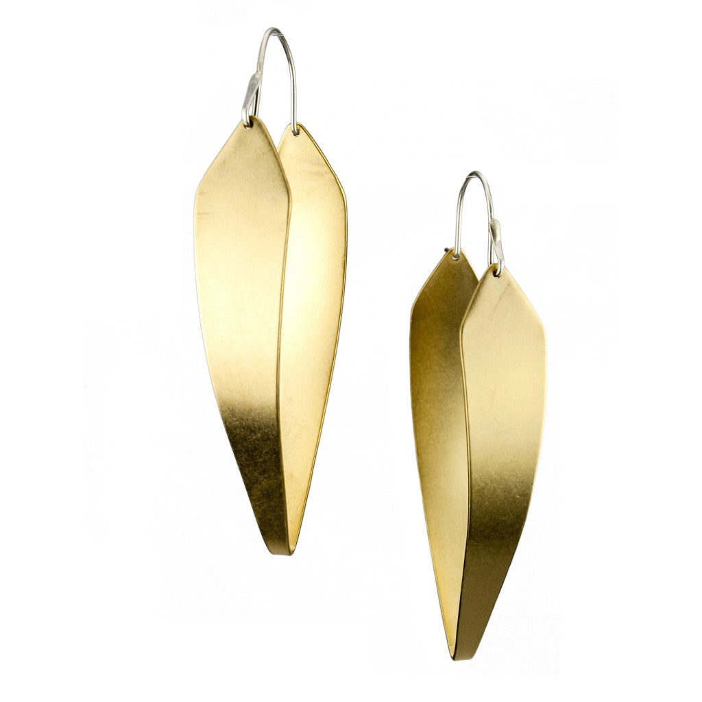 sculptural brass hoop earrings