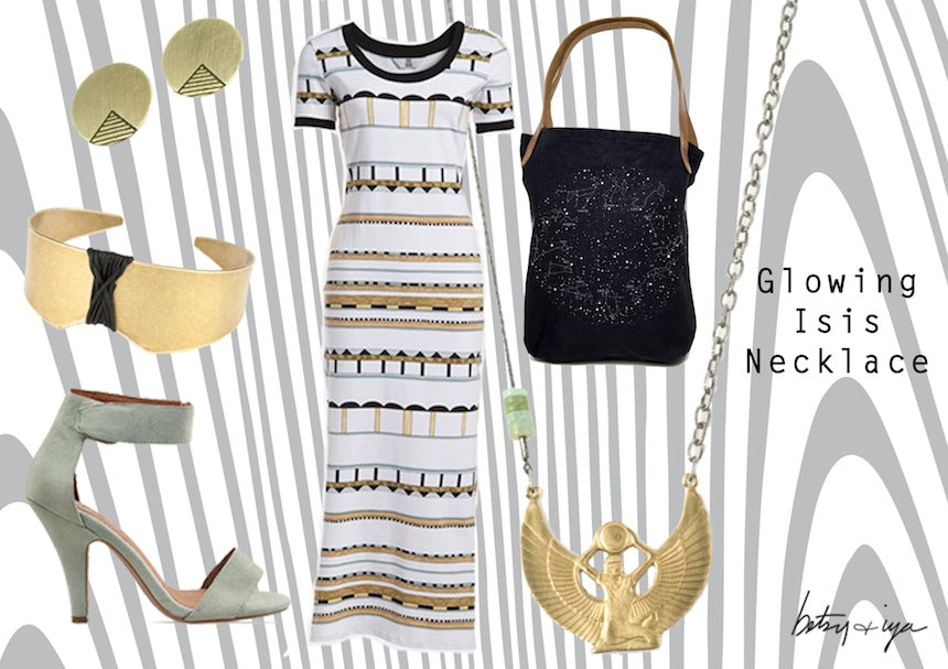 Betsy and Iya Glowing Isis Necklace Fashion Inspiration Outfit