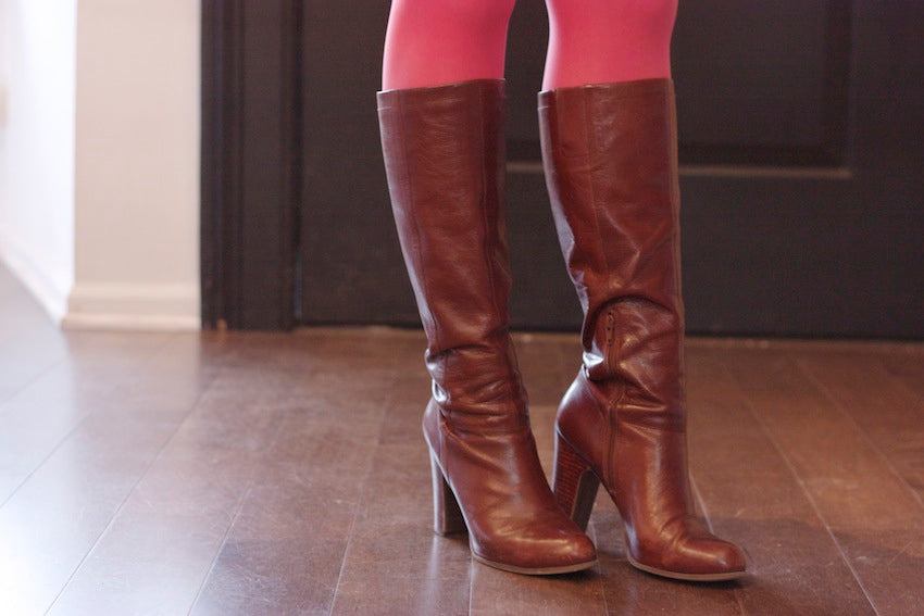 betsy & iya knee high burgundy leather boots and bright pink tights
