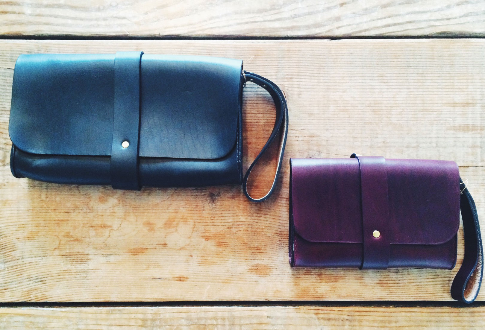 Martine leather clutch and wristlet