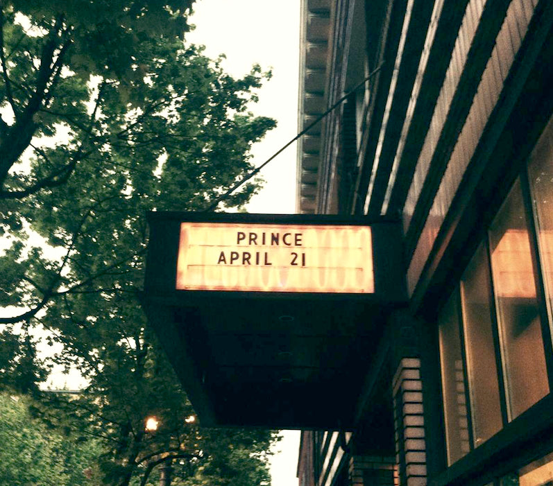 Photographe of the marquee at the Roseland in Portland, Oregon when Prince played.