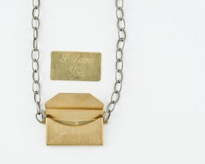 """i love you"" envelope necklace"