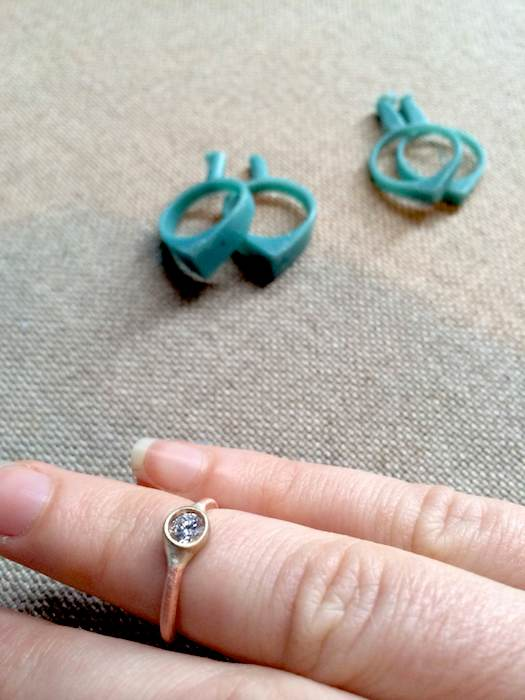Showing the mid-process design of betsy & iya's new custom engagement rings.