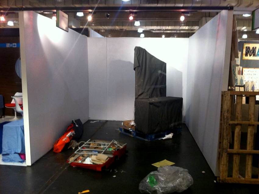 Setting up a booth for a NY NOW trade show booth.