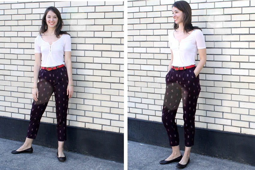 ways to wear patterned pants