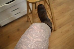 for the bottom:  neutral brown and wildly textured tights with the perfect boots...Frye, of course!
