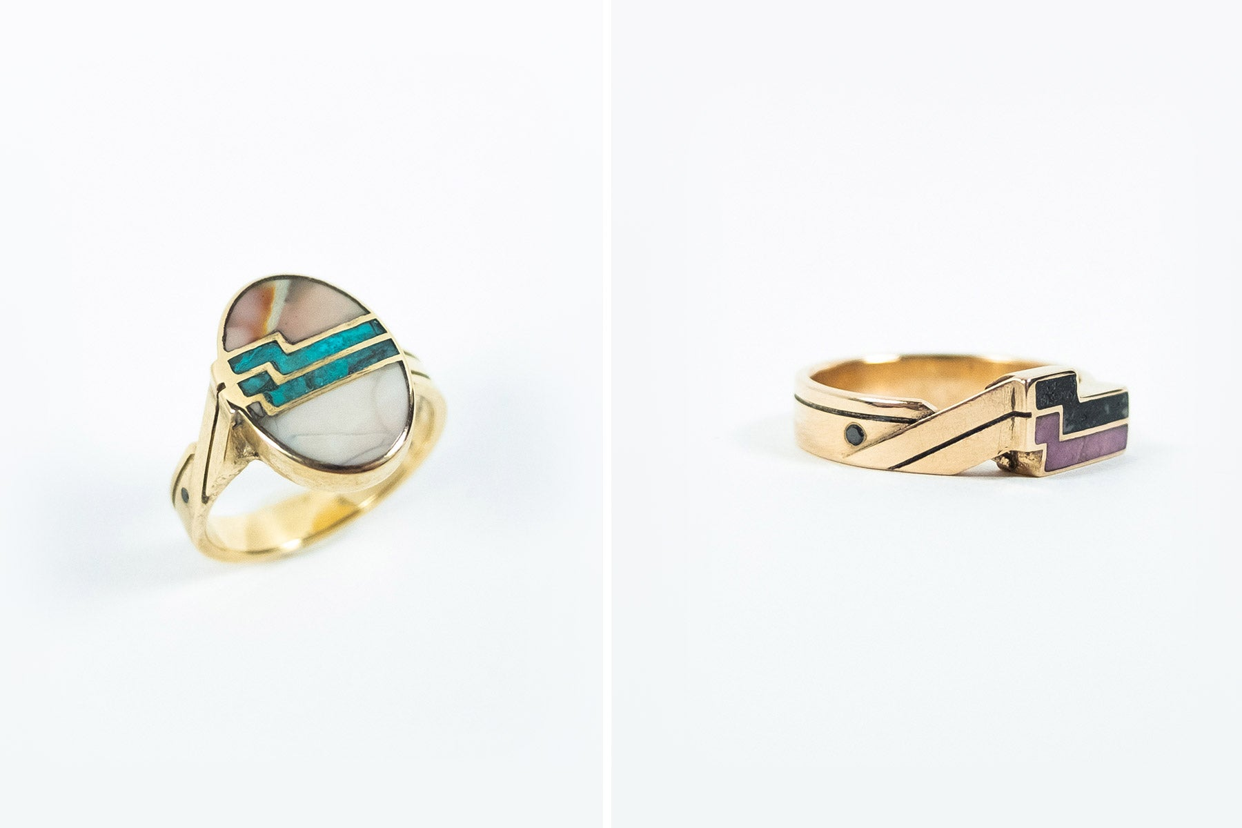 Mens and womens custom designed rings with rhodonite chrysocolla and willow jasper stones flush set into 14k yellow gold