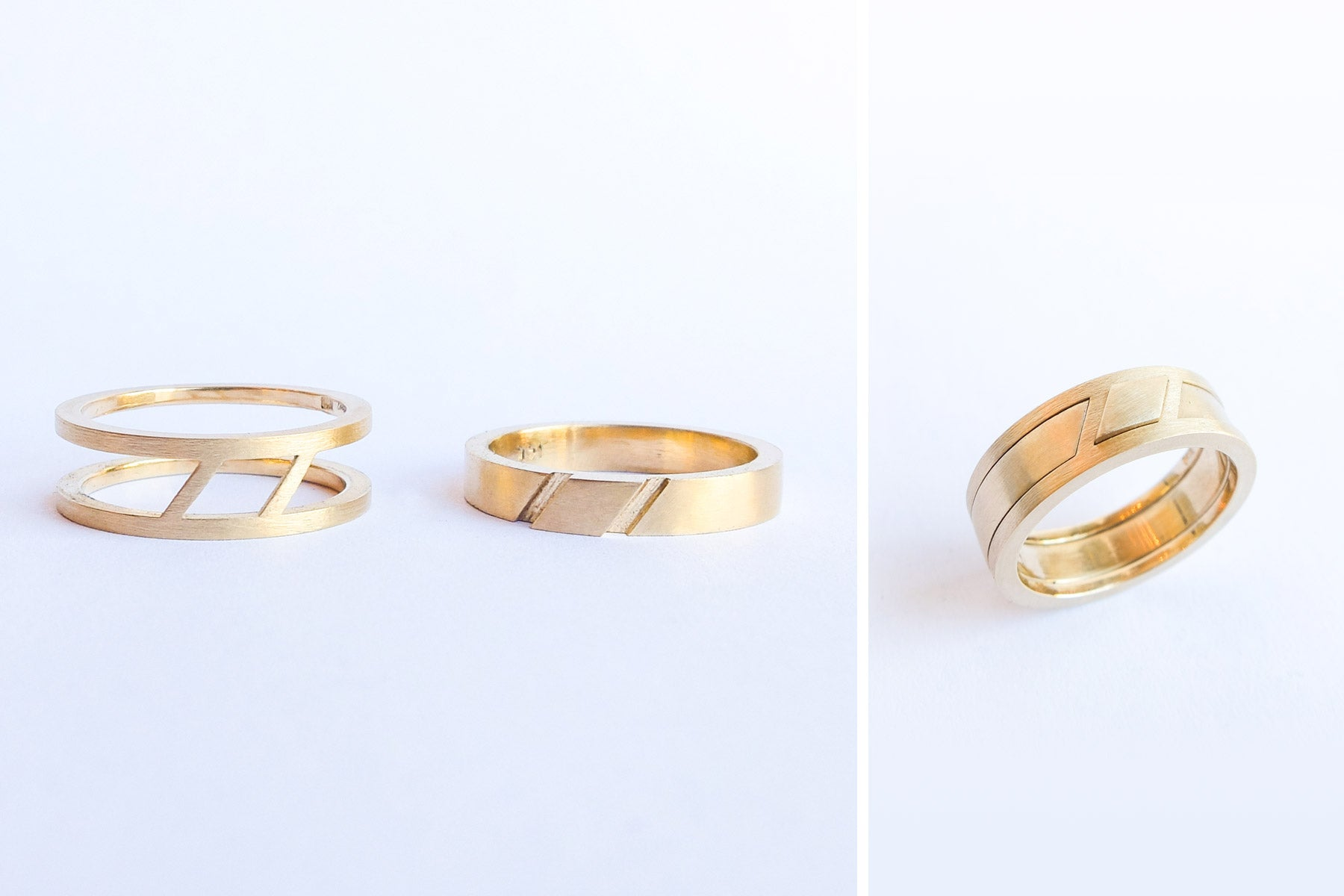 14k gold two part mens unisex wedding bands that can be put together to form one ring