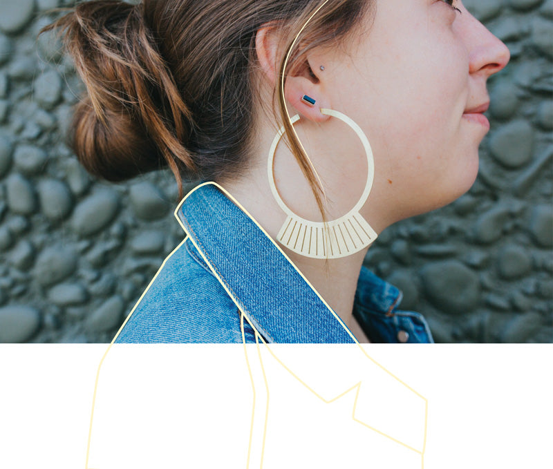 betsy & iya uba hoop earrings and yana studs