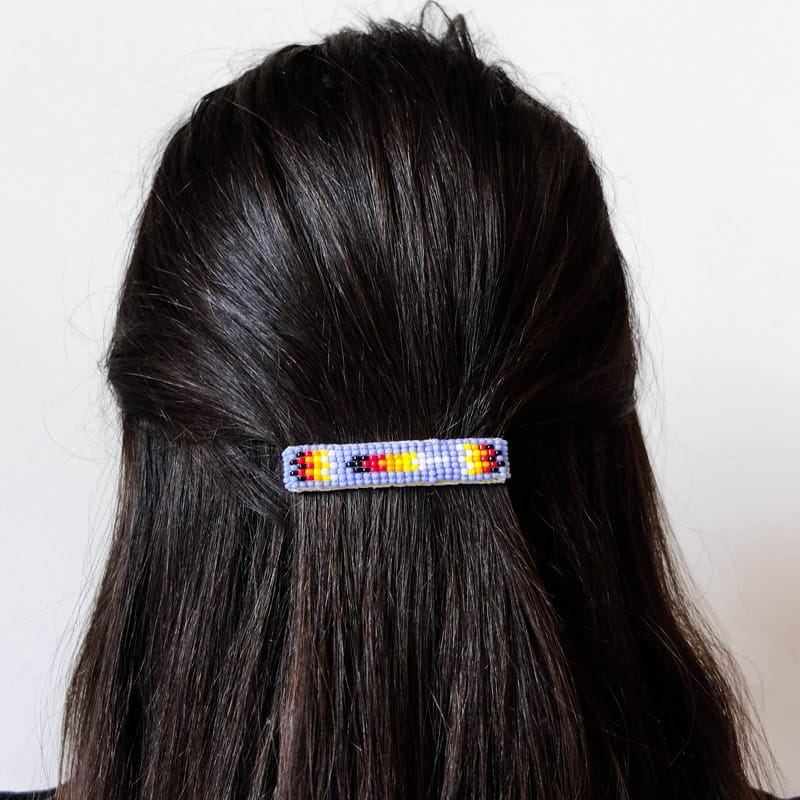 Navajo Beaded Hair Clip Set in Lavender