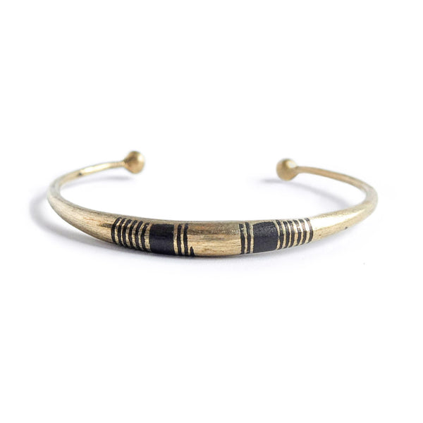 Striped African Brass Bracelet