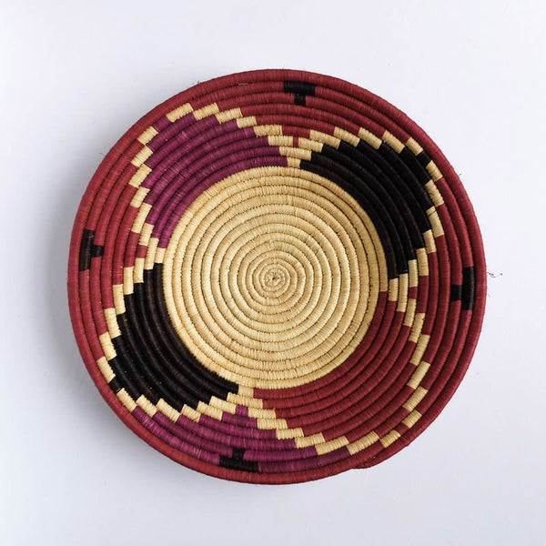 Triangles of Pink, Purple, and Black Basket from Rwanda