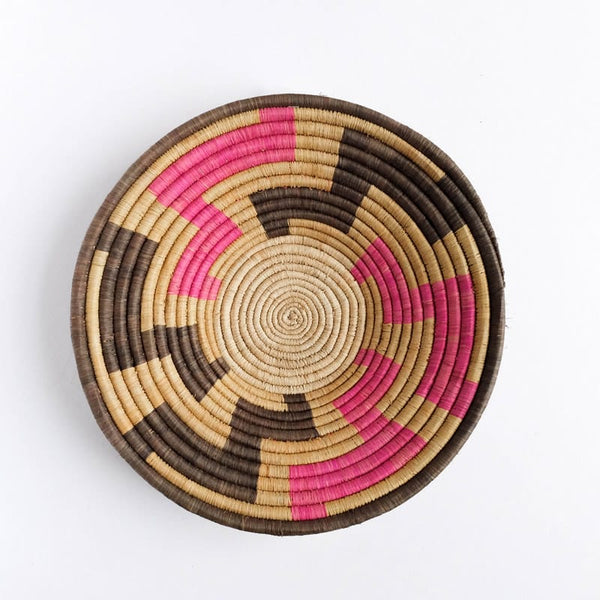 Pink, Grey and Tan Basket from Rwanda