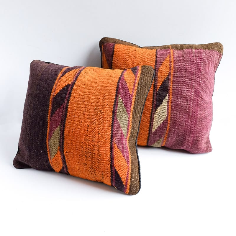 Kilim Pillow in Blocks of Orange, Aubergine and Grey