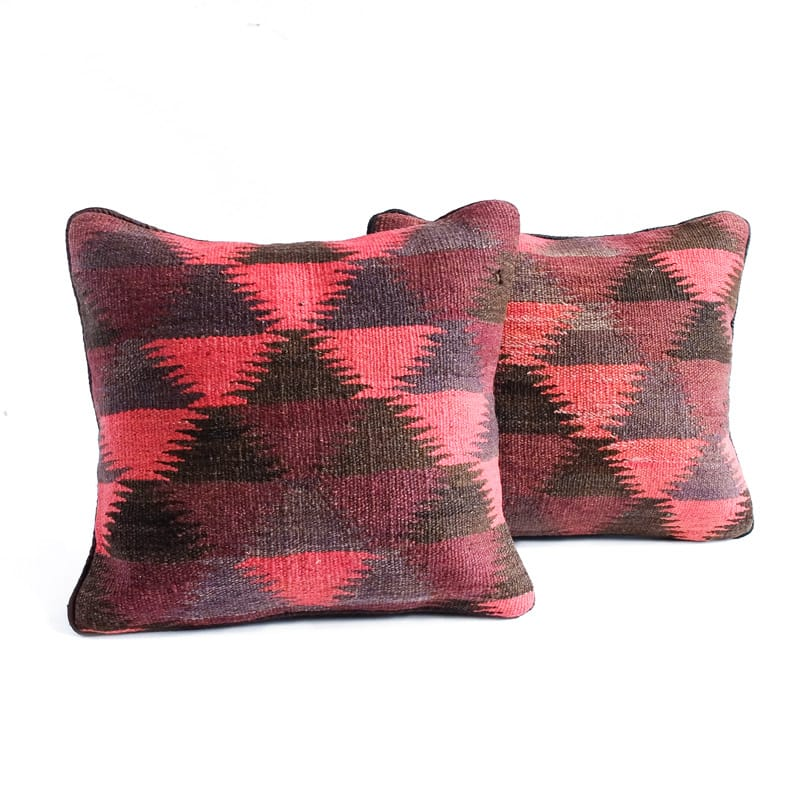 Kilim Pillow in Pink, Grey, Aubergine and Black