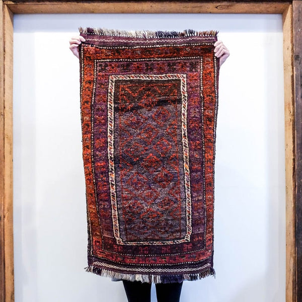 Baluchi Wool Rug with Burnt Orange Border and Taupe Interior