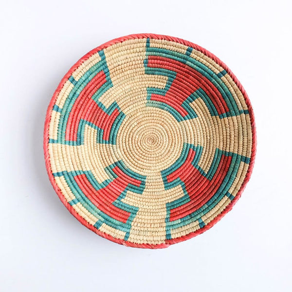 Flat Pakistani Basket in Red and Teal