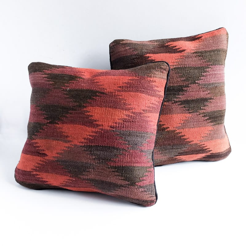 Kilim Pillow in Red, Purple, Black and Grey