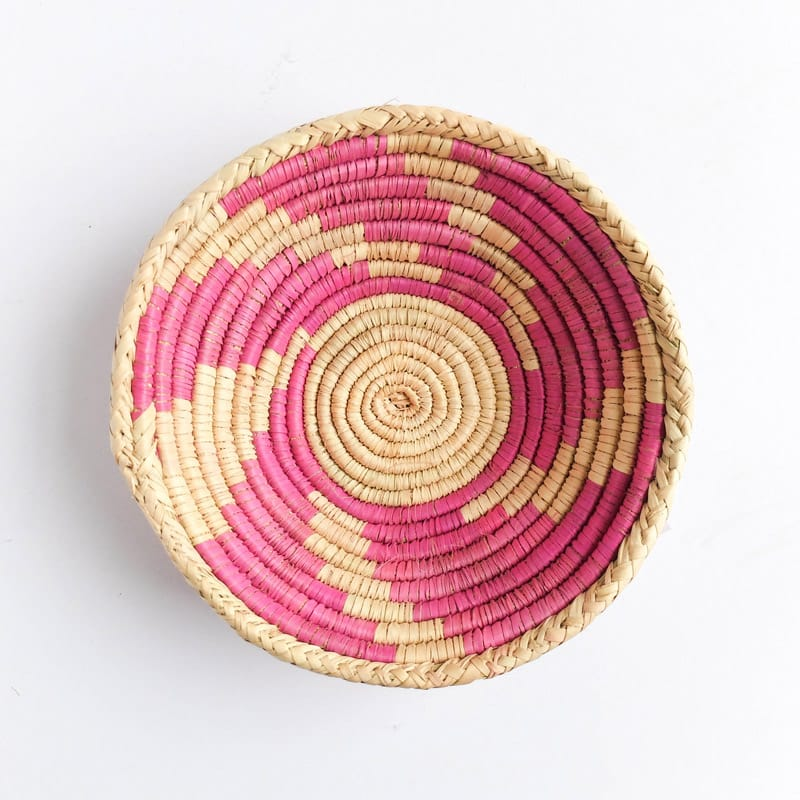 Medium Pakistani Basket with Pink Swirl
