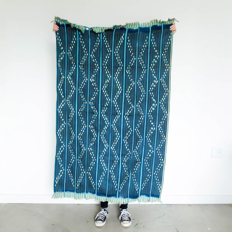 Baoulé Cloth in Indigo, Aqua, and Cream