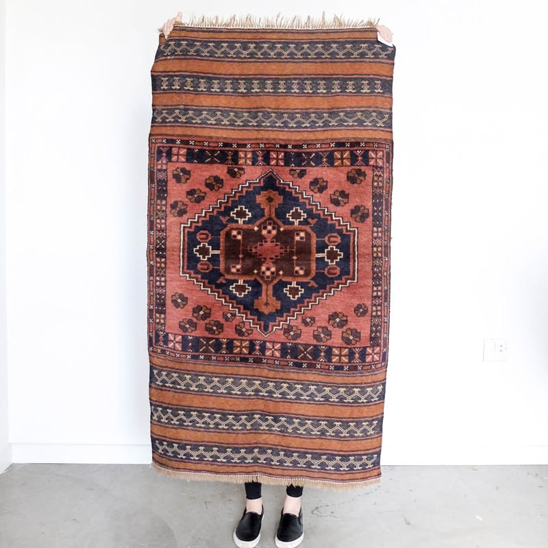 Baluchi Wool Rug with Embroidered Sides in Brown