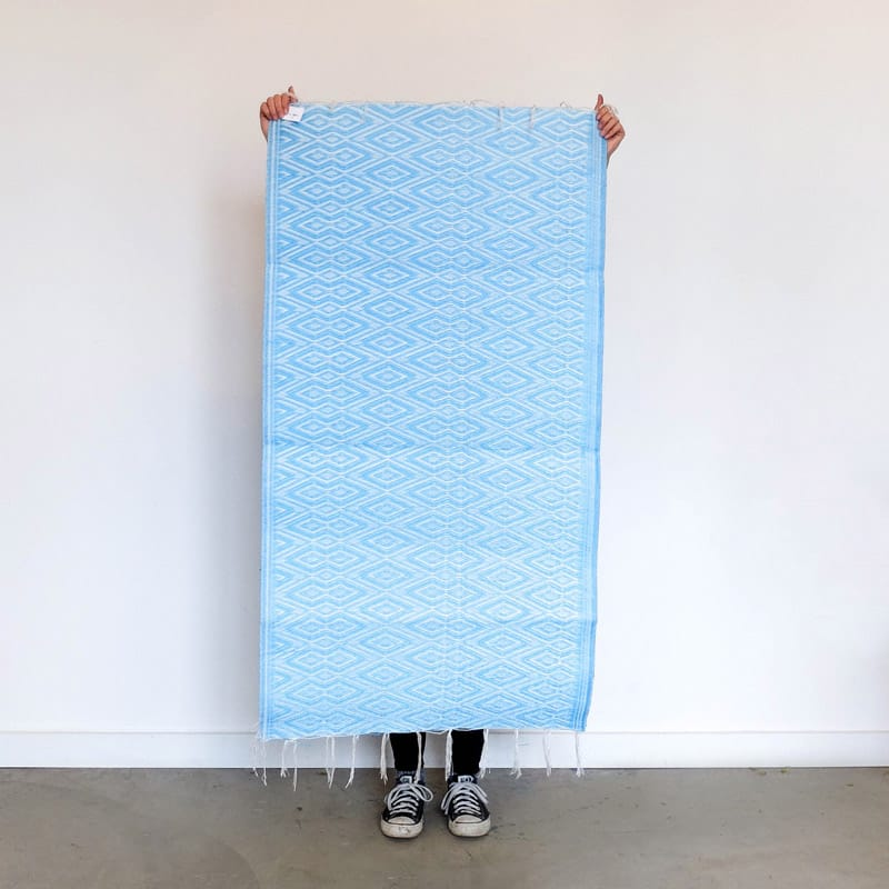 Small Recycled Plastic Rug from Senegal in Sky Blue and White
