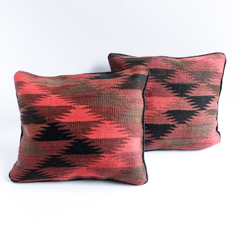 Kilim Pillow in Red, Mauve, Black and Charcoal