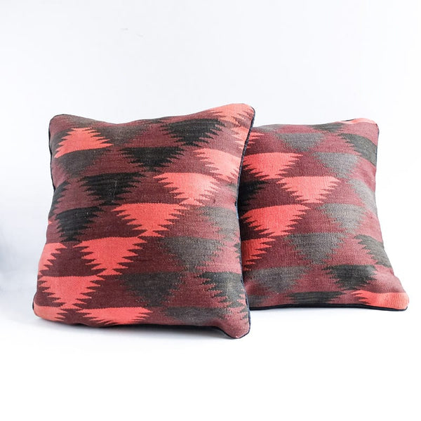 Kilim Pillow in Coral, Aubergine, Black and Charcoal