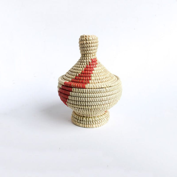 Small Lidded Senegal Basket with Red Accents