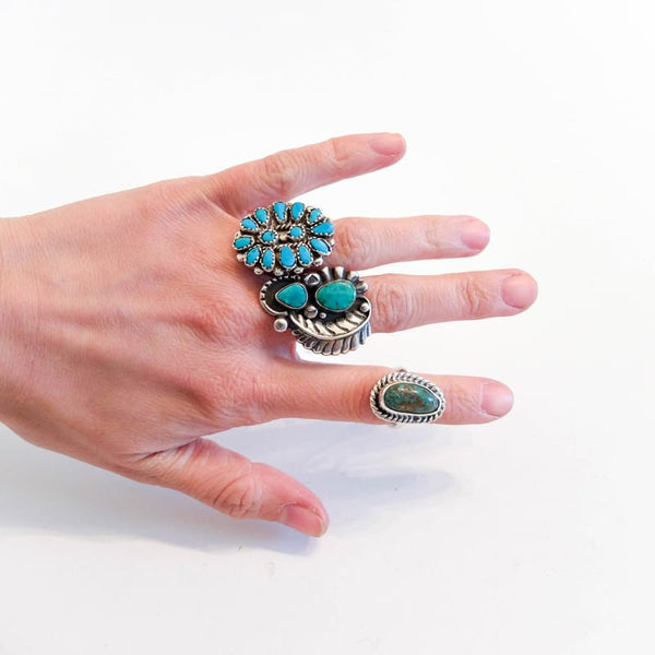 Native American Turquoise Ring, Sizes 4-5