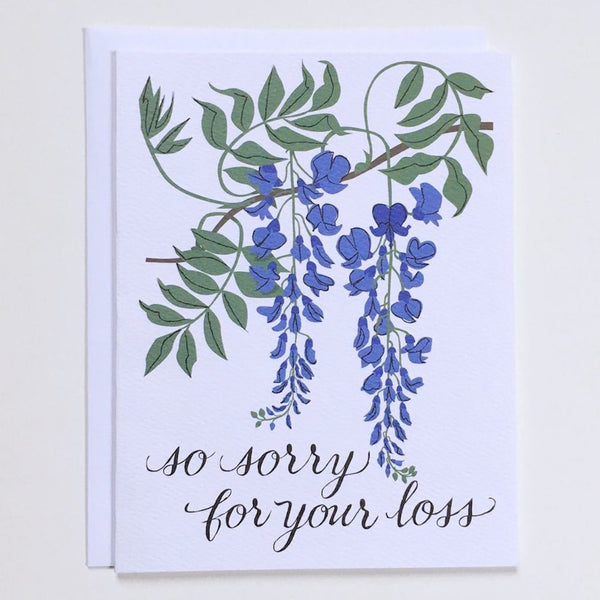 """So Sorry for Your Loss"" Wisteria Sympathy Card"