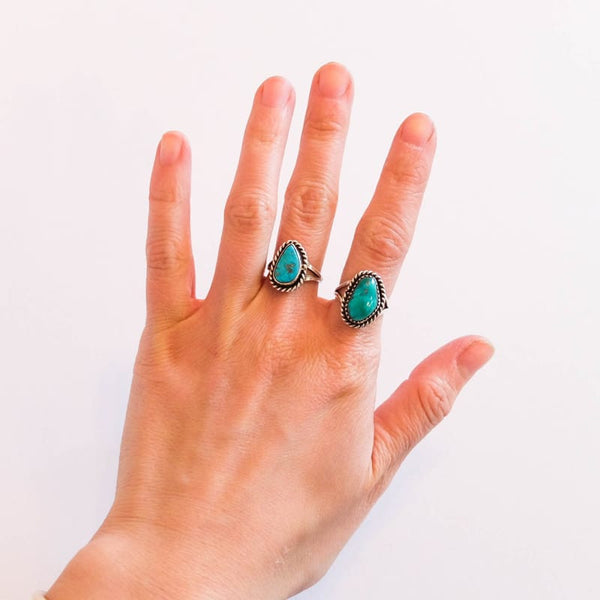 Native American Turquoise Ring, Sizes 5-6