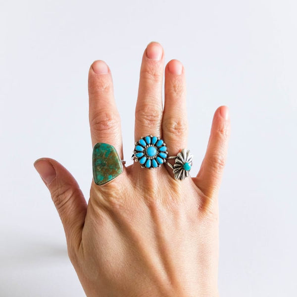 Native American Turquoise Ring, Sizes 7-8